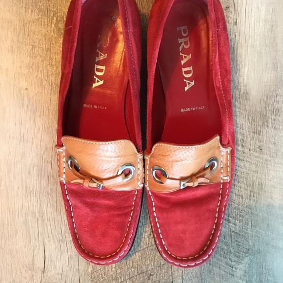 335a44544ce ... purchase red suede prada loafers cc159 da383 ...